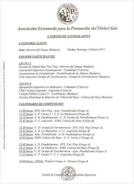 X Torneo de navidad AEPFS - Alevín - Calendario