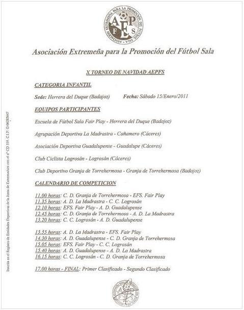 X Torneo de navidad AEPFS - Infantil - Calendario