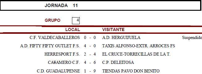 Resultados Jornada 11 - Senior - Temporada 2010-2011