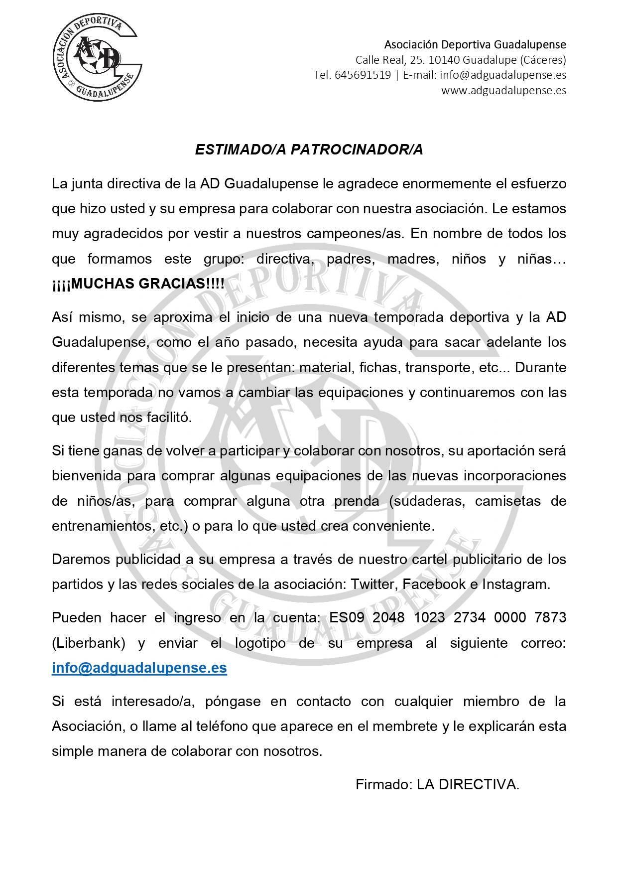 Carta patrocinador 2019-2020